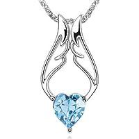Argento ali d' angelo blu cuore di cristallo ciondolo collana catena (3.1cm) (48CM), con sacchettino