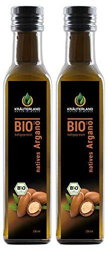 Aloe Vera Gel-paket (Kräuterland Bio Arganöl, Bio-zertifiziert, nativ, kaltgepresst, 100% rein, ab 14.90, 500ml, Haut- und Haarpflege, Anti-Aging, auch als Speiseöl(2x250ml))