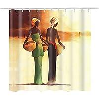 laamei Cortina de Ducha Impermeable Resistente al Moho Cortinas Baño de Tela Poliéster 3D Digital Diseño Arte Oriente Medio con Anillos (180cmx180cmcm)