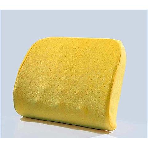 LUN Cuscino lombare schienale cuscino 3D memoria schiuma traspirante massaggi granuli cuscino cuscino per sedia da ufficio auto e cuscino da viaggio per dolore alla schiena , pollen yellow