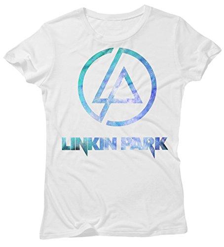 LaMAGLIERIA Camiseta Mujer Linkin Park - Light Blue Texture -...