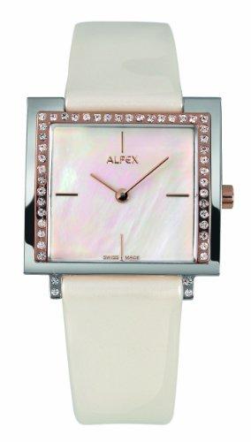 Alfex - 5684_822 - Montre Femme - Quartz Analogique - Cadran Nacre - Bracelet Cuir Blanc