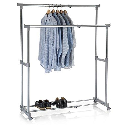 CARO-Möbel Garderobenwagen Rollgarderobe Kleiderständer Kleiderwagen Garderobenständer Rollkleiderständer CASA in grau, 2 Kleiderstangen, Metallgestell verchromt, höhen- und breitenverstellbar