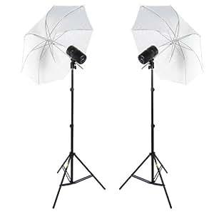 DynaSun CY100KIT 100W Kit Éclairage Barebulb Lampe Esclave avec Flash, Trépied, Parapluie, Sac, Régulateur de Puissance pour Studio Photo et Vidéo