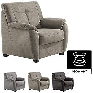 Cavadore Sessel Sunuma mit Federkern / Moderner Polstersessel passend zum Sofa Sunuma / Größe: 95 x 91 x 90 cm (BxHxT) / Farbe: Grau