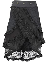 f0a3563cbac925 Guru-Shop Psytrance Goa Pixi Wickelrock, Stufenrock mit Spitze, Damen,  Grün, Baumwolle, Size:One Size, Kurze Röcke Alternative…