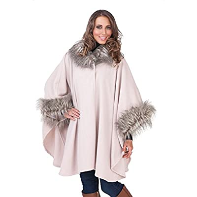 Lora Dora Womens Fur Collar Shawl Ladies Poncho Throw Cape Coat Wrap Warm Winter One Size