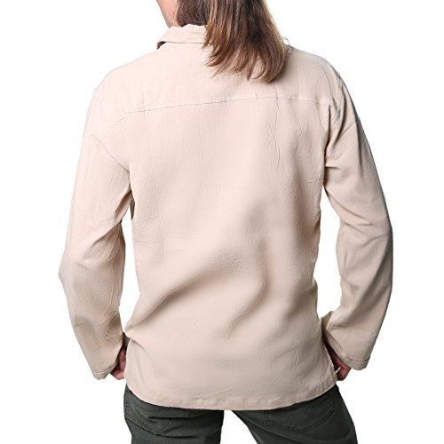 Kunst und Magie Alternatives Baumwollhemd Fischerhemd Kurtha Hemd Mittelalter Naturfarben