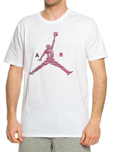 Nike Air Jumpman Tee-Maglietta a maniche corte, linea: Michael Jordan, da uomo Blanco (Blanco / Gym Red)