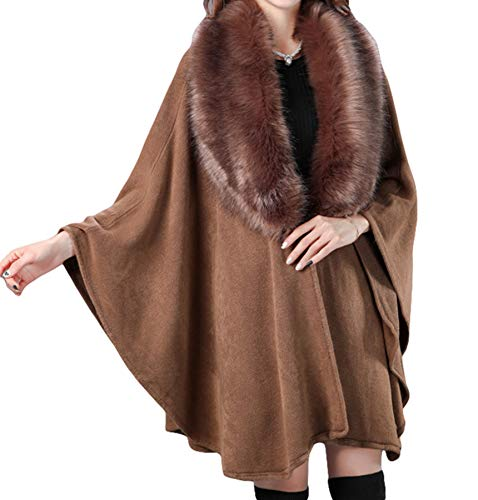Pener Fur Faux Fox Shawl Warm Cardiganbrown Cloak Cape Women's Knitting Ymf6Igyvb7