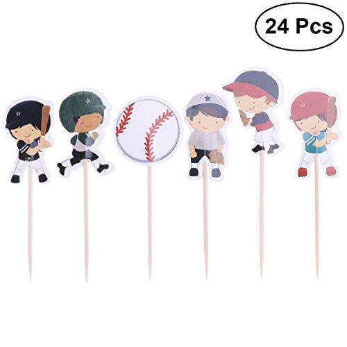BESTONZON 24pcs Baseball Kuchen Topper Muster Cupcake Dekore Geburtstag Hochzeit Party Supplies
