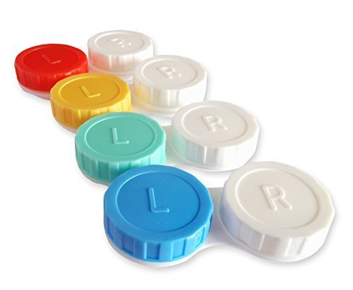 4 x Contact Lens Cases ~ Colour Coded L&R Soaking Storage Cases (Classic) Test