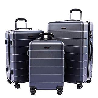 CarryOne Equipaje Juego de 3 Piezas Maleta Ligero | 4 Ruedas Giratorias Silenciosas de Doble | Candado Numérica | 20in24in28in para Vacaciones Viaje-19TC1-Azul Cielo