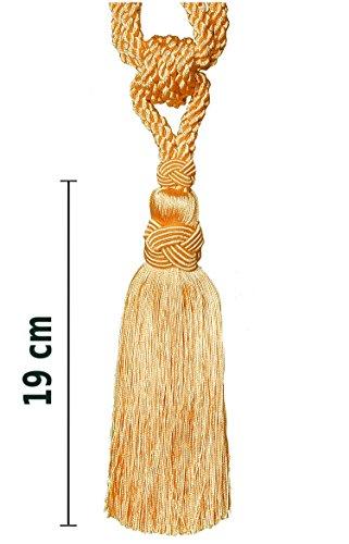 Raffhalter 60 cm/ Quaste 19 cm mit Kordel Gold Gardinen Vorhang Gardinenhalter Quaste Halter für...