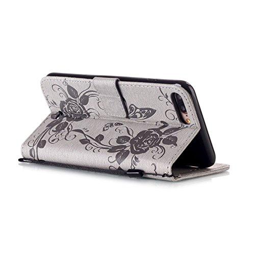 iPhone Case Cover Rhinestone geprägte Blumen PU-lederner Kasten-Mappen-Kasten mit Handbügel für iPhone 7 plus ( Color : Rose Red , Size : IPhone 7 Plus ) Gray