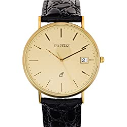 Gents 9ct Gold Wristwatch Champagne Face with Date - Black Leather Strap