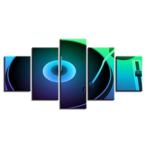 KKXXWLH Leinwand Malerei Wandkunst Druckplakatrahmen 5 Stücke Fluoreszierende Farbe Rekord Dj Plattenspieler Bilder Modulare Nacht Bar Wohnkultur - High-fidelity Plattenspieler
