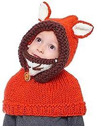 f0cb2e34dcdda CGN Niños Animales Oreja Punto Sombrero Invierno Caliente Suave Beanies  cofia Capucha Bufanda máscara Fox Ear