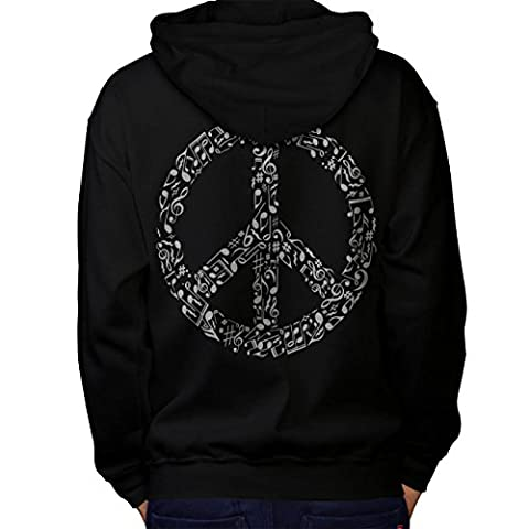 Peace Sign Music Rasta Men L Hoodie Back | Wellcoda