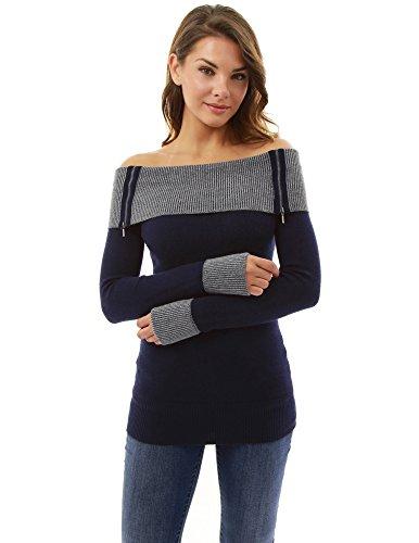 PattyBoutik Damen weg von der Schulter Tunika Pullover (dunkelblau 44/L) (Pullover Schulter Tunika)