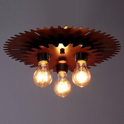 BAYCHEER Industrielampe Deckleuchte Deckenlampe 3 Flammige Lampenfassung Schmiedeeisen Lampe Kronleuchte Pendellampe - 6