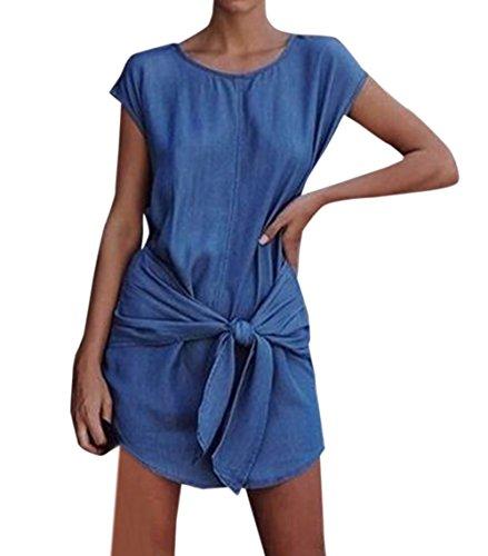 Sommer Damen Casual Rundhals Kappenhülse Kleider mit Bandage Blusenkleider Strandkleider Mode Denim...