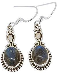 db1ea90b352c TreasureBay - Pendientes Colgantes de Plata de Ley 925 y Piedra de  labradorita Natural para Mujeres