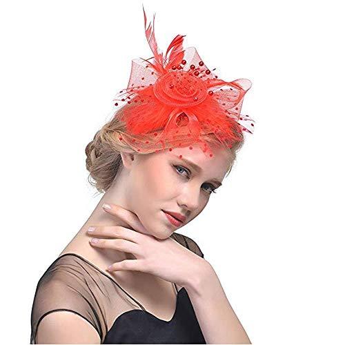Fascinators Hut Fleur Plume Maille Netz Fascinator Cheveux Clip Chapeau Cocktail Teeparty Chapeaux Gießen Filles et Femmes (Schwarz) Curlies (Color : Red)