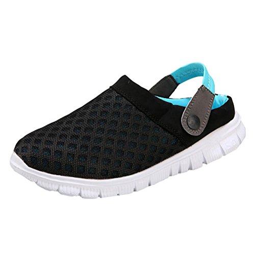 Vogstyle Unisex - Erwachsene Hausschuhe Sandalen Clogs Pantoletten Sommer Breathable Mesh Freizeit Schuhe Strand Blau