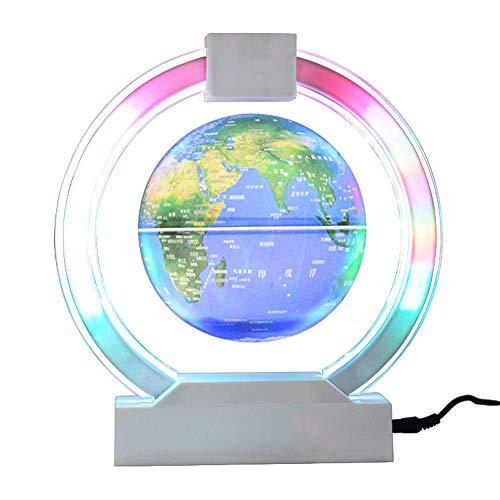 YLOVOW Floating Globe Mit LED-Leuchten Magnetschwebebahn Floating Globe Weltkarte für die Schreibtischdekoration,Blue,Sphereemitslight (Acryl-globus-leuchte)