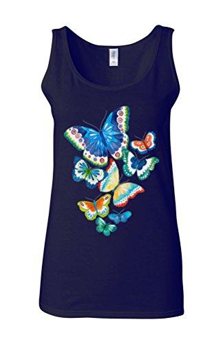 Butterfly Colourful Art Drawing Novelty White Femme Women Tricot de Corps Tank Top Vest Bleu Foncé