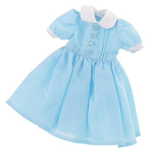 MagiDeal 12,5cm Schöne Puppen Kleid Kleidung Outfit für 1/6 Blythe Puppe Dress up - Blau (Princess Dress Up Kleidung)