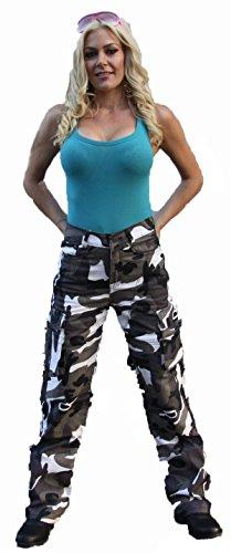 Damen Motorrad-Hose/Cargo-Jeans - Kevlar - Protektoren - Grau Camouflage Gr. 40 - Bein: 30
