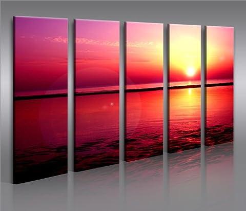 Sunset Beach * huge modern canvas art print gallery framed - ready to hang - 67