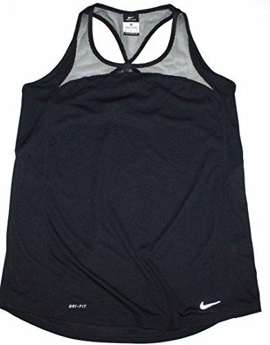 Nike Frauen 100% Polyester Dri-Fit Leopardenmuster X Zur¨¹ck Tank Top - Mesh Trim 708263 (M, Schwarz) (Tank Mesh Trim)