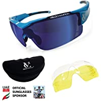 Vortex Sunglasses- Blue Frame, Blue/Yellow/Clear Lens - Free Case