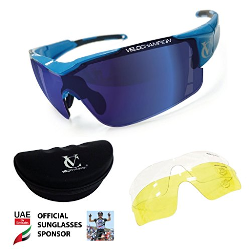 VeloChampion Vortex Sonnenbrille, blauer Rahmen, blau/gelb/klare Gläser, inkl. Etui