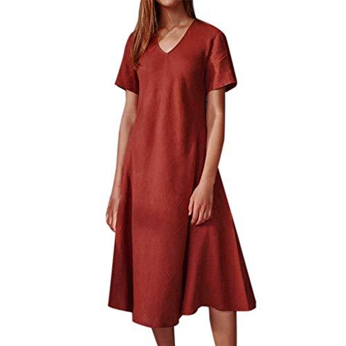 Ziyou Frauen Solide Kurzarm V-Ausschnitt Casual Knielanges Sommer Langes Kleid(Orange,M) -