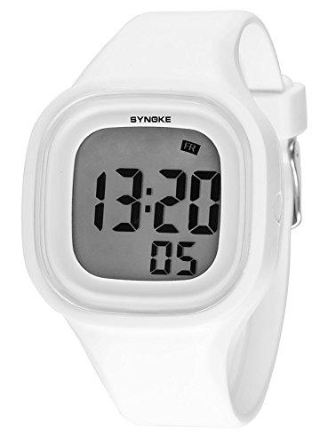 SYNOKE Kinder Digital Armbanduhr 5 ATM wasserdichte Digitaluhr Mädchen Jungen Uhr Multifunktion - Bonbonfarbe Weiß