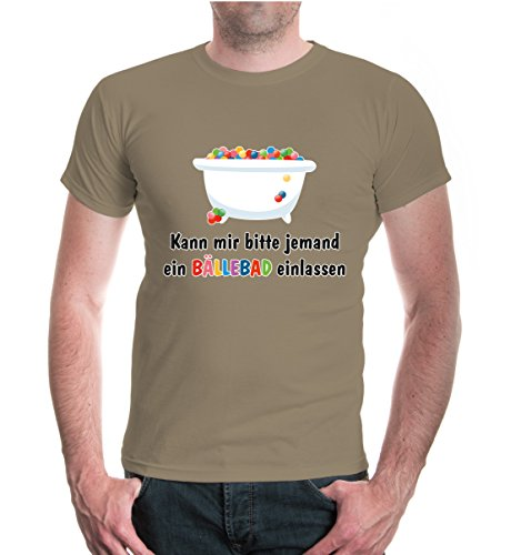 buXsbaum® T-Shirt Kann mir bitte jemand ein Bällebad einlassen Khaki-z-direct