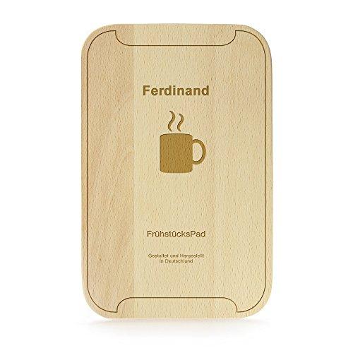 FrühstücksPad mit Gravur - Personalisiert mit [Namen] - Frühstüksbrettchen im Tablet-Look - Küchenbrett aus Buchenholz - 23 cm x 15 cm x 1 cm