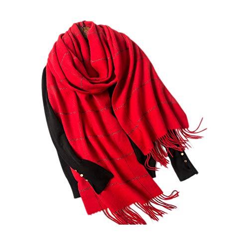 Xyuluy Wollschal, stilvoller und eleganter Stil, Quasten- und Silberdrahtdekoration, Warmer Schal, 40 * 240CM,A -