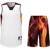 Basketball Trikot und Shorts, Sanheng Quick-Dry Round Collar Trikots und Shorts Training Bekleidung Set für Herren, mit Tasche