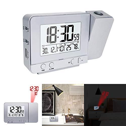 HITECHLIFE Pantalla LED Proyector Reloj con luz de Fondo Snooze Alarm Clock Hora Temperatura Humedad...