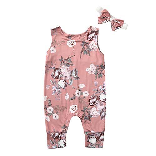 Julhold Neugeborenes Baby Mädchen Junge Niedlich Elegant Floral Strampler Overall Kleidung Outfits Stirnband Set 0-24 Monate -