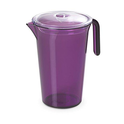 Karaffe HAPPY Drink von 1,85 Liter mit Deckel Rot Durchsichtig