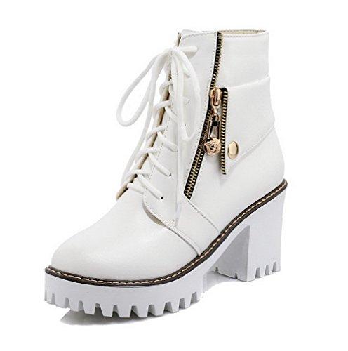 AgooLar Damen Rein Hoher Absatz Schnüren Rund Zehe Stiefel mit Metallisch Weiß