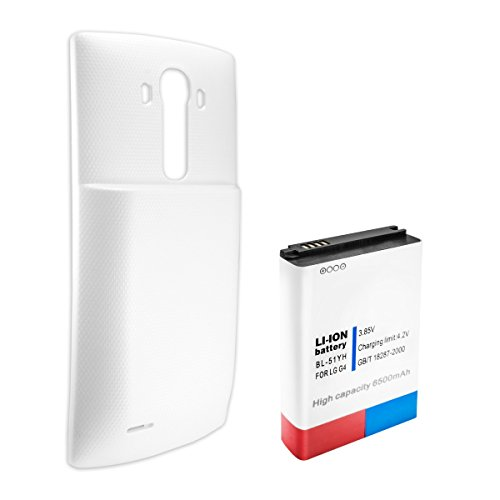 Akku-King Power-Akku ersetzt LG BL-51YF, EAC62858501 - Li-Ion 6500mAh - Inkl. Akkudeckel - für G4, G4 Dual SIM, G4 Dual LTE , Farbe:Weiß
