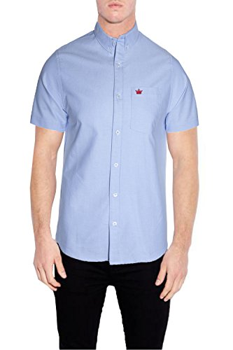 Mens Brave Soul Senate Cotton Oxford Collared Shirt Short Sleeved Button Up Top