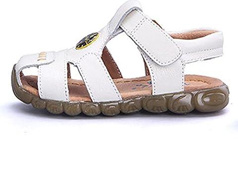 Unisex-Kinder Lässige Sommer Geschlossene Zehen Hohl Oxford mit Uhrpattern Schnellverschluss Klein Kind Weiche Sohle Strand Sandalen Weiß Größe 31 EU